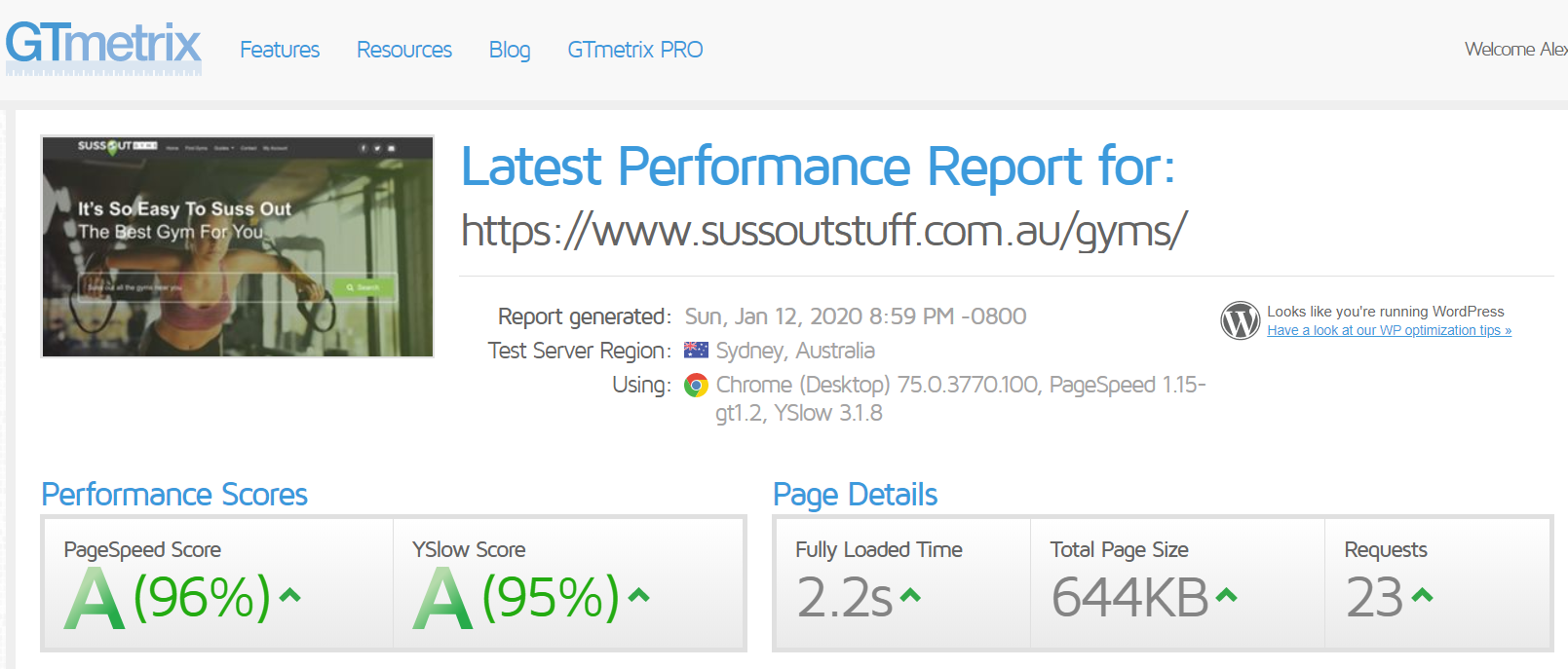 sussoutstuff.com.au GTMetrix performance